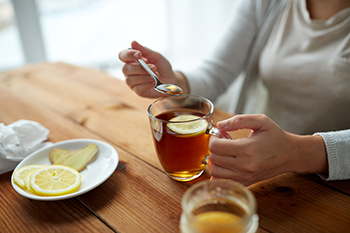 Mountain Ridge Honey helps ease flu symptoms when mixed with tea.